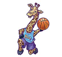 Wild Animal League Giraffe Basketball Star Photographic Print