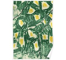 Abstract in Green and Yellow Poster
