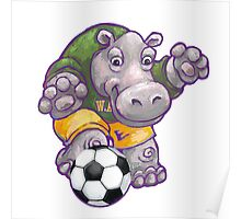 Wild Animal League Hippo Soccer Player Poster