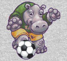 Wild Animal League Hippo Soccer Player One Piece - Long Sleeve