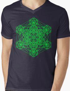 Infinity Cube Green Mens V-Neck T-Shirt