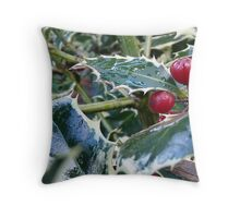 holly leaves Throw Pillow