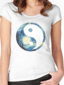 Yin Yang Starry Night  Women's Fitted Scoop T-Shirt