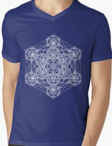 Infinity Cube White Mens V-Neck T-Shirt