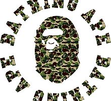 A bathing ape round text military by goldney09