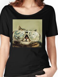 Cute Cat With Glasses Women's Relaxed Fit T-Shirt