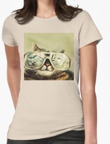 Cute Cat With Glasses Womens Fitted T-Shirt