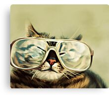 Cute Cat With Glasses Canvas Print