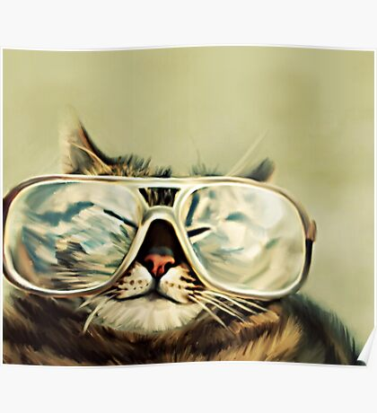Cute Cat With Glasses Poster