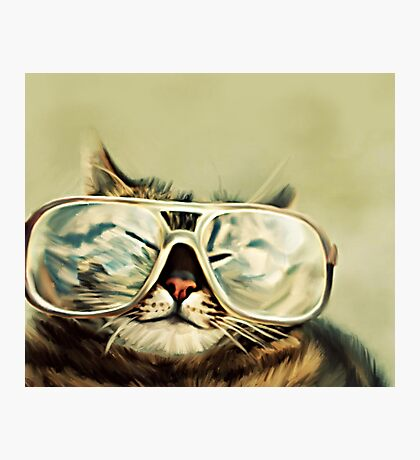 Cute Cat With Glasses Photographic Print