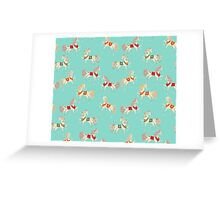 Dancing Horse in Turquoise Background Pattern Greeting Card