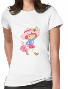 Little Girl and Kitten Womens Fitted T-Shirt