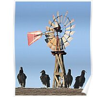Windmill With Visitors Poster