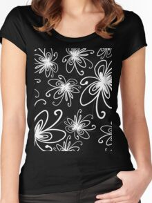 Doodle Flower in White with Blue Background Women's Fitted Scoop T-Shirt