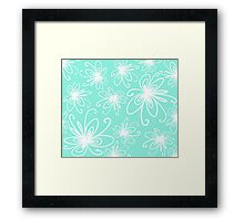 Doodle Flower in White with Blue Background Framed Print