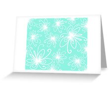 Doodle Flower in White with Blue Background Greeting Card