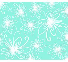 Doodle Flower in White with Blue Background Photographic Print