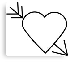 Black Heart Outline with Arrow Through It Canvas Print