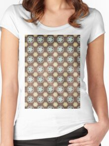 Vintage Retro Polkadot Brown Pattern Women's Fitted Scoop T-Shirt