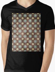 Vintage Retro Polkadot Brown Pattern Mens V-Neck T-Shirt