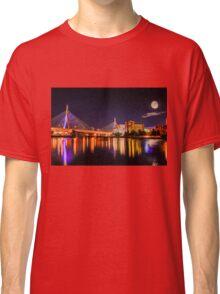 Moon light over Zakim bridge Classic T-Shirt