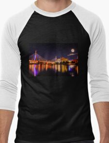 Moon light over Zakim bridge Men's Baseball ¾ T-Shirt