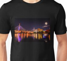 Moon light over Zakim bridge Unisex T-Shirt