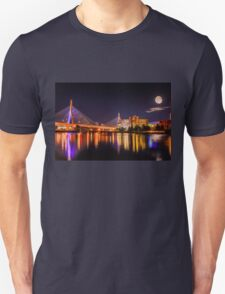 Moon light over Zakim bridge Unisex T-Shirt