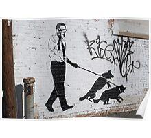 Presidential Graffiti Dog Walking Poster