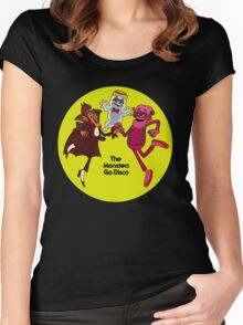 Saturday Morning Disco Dancing Cereal Monsters Women's Fitted Scoop T-Shirt