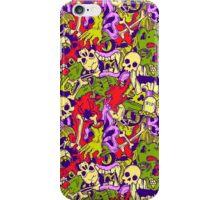 Halloween pattern with skulls, bones and zombies iPhone Case/Skin