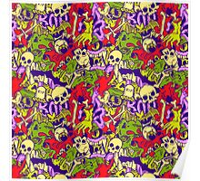Halloween pattern with skulls, bones and zombies Poster