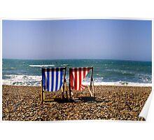 Brighton Beach, UK - Deck Chairs Poster