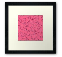 Kitty playing on pink Framed Print