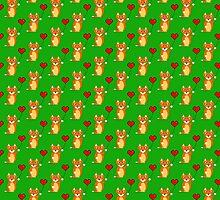 Fox with a pixel heart balloon by jaxxx