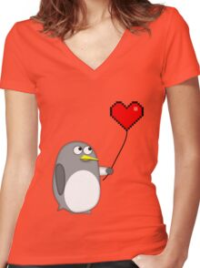 Penguin with a pixel heart balloon Women's Fitted V-Neck T-Shirt