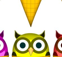 Ice cream cone owls Sticker