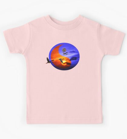 Sunset and herons in fly Kids Tee