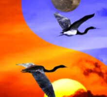 Sunset and herons in fly Sticker
