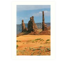 Totem Pole and Yei Bi Chei - Monument Valley Tribal Park, Navajo Nation Art Print