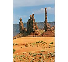 Totem Pole and Yei Bi Chei - Monument Valley Tribal Park, Navajo Nation Photographic Print