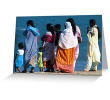 Family Outing, Locals on the Beach enjoying the sun, Sri Lanka  Greeting Card
