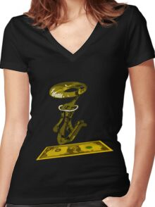 dolar1 amarillo Women's Fitted V-Neck T-Shirt