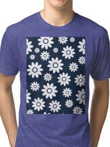 Navy Fun daisy style flower pattern Tri-blend T-Shirt