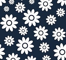 Navy Fun daisy style flower pattern by ImageNugget