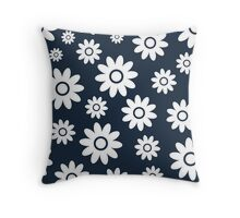 Navy Fun daisy style flower pattern Throw Pillow