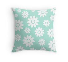Mint Fun daisy style flower pattern Throw Pillow