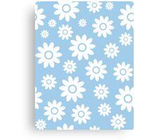 Light Blue Fun daisy style flower pattern Canvas Print
