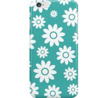 Teal Fun daisy style flower pattern iPhone Case/Skin