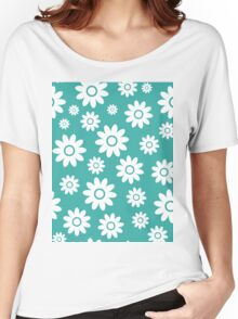 Teal Fun daisy style flower pattern Women's Relaxed Fit T-Shirt